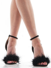 FEATHER HEELS FUR SANDALS | Why Dress