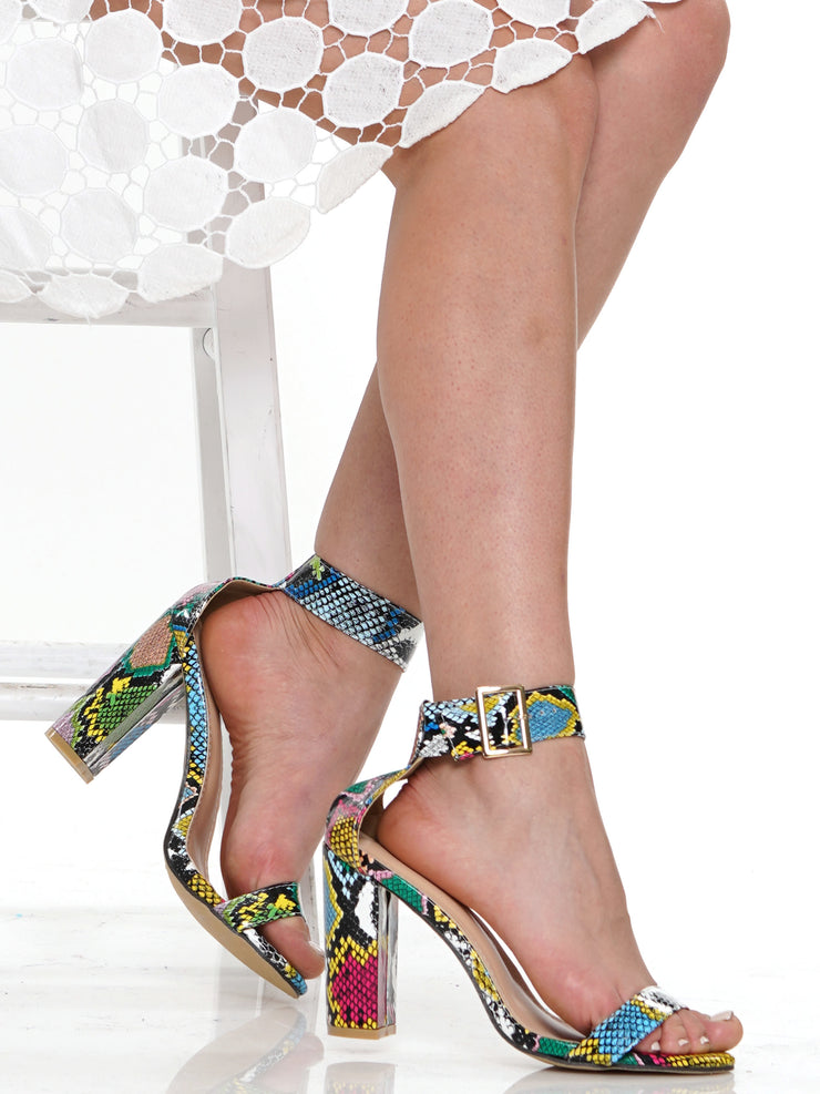 SNAKE CHUNKY HEEL SANDAL | Why Dress