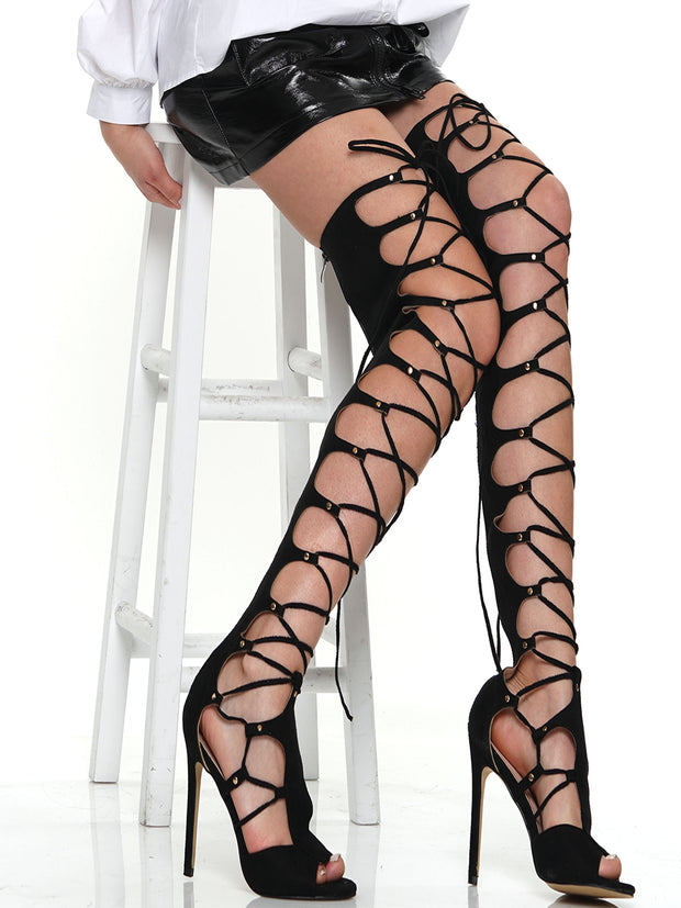 CROSSSTRAPS THIGH HIGH LACE UP STILETTO SANDAL | Why Dress