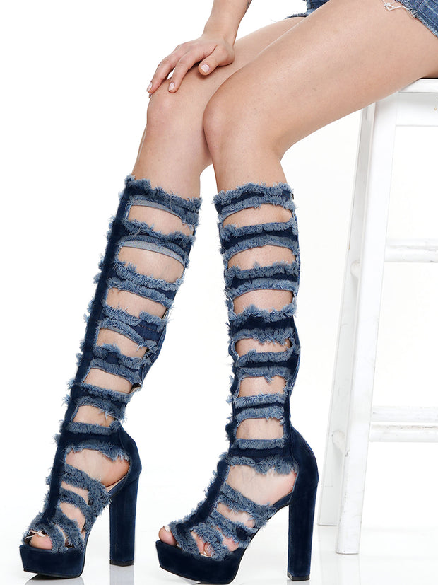 PEEP TOE HOLLOW OUT CHUNKY HEEL  DENIM SANDAL | Why Dress