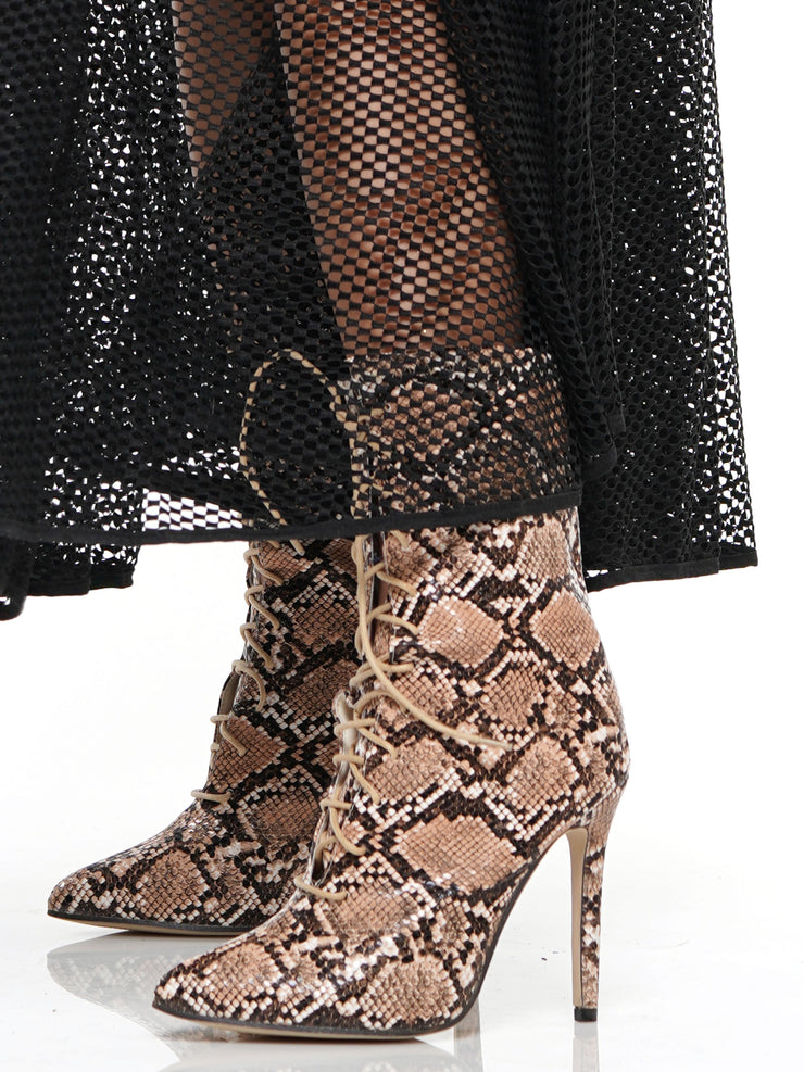 SNAKE LACE UP POINTED TOE STILETTO BOOTIES | Why Dress