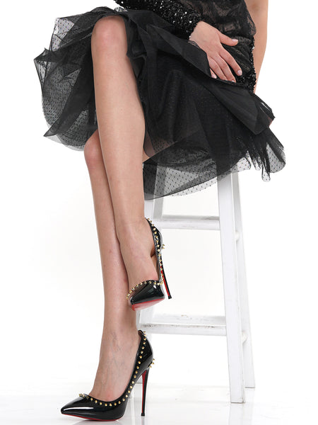 RIVET POINTED TOE STILETTO SHALLOW PUMP | Why Dress