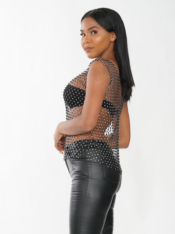 RHINESTONES WITH MESH TOP | Why Dress