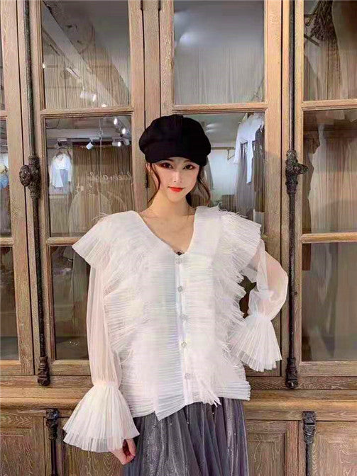 V-NECK FEATHER CHIFFON PLEATED ORGANZA BLOUSE TOP | Why Dress