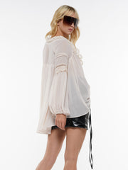 KNIT HOLLOW OUT TRIM FRONT LACE TOP | Why Dress
