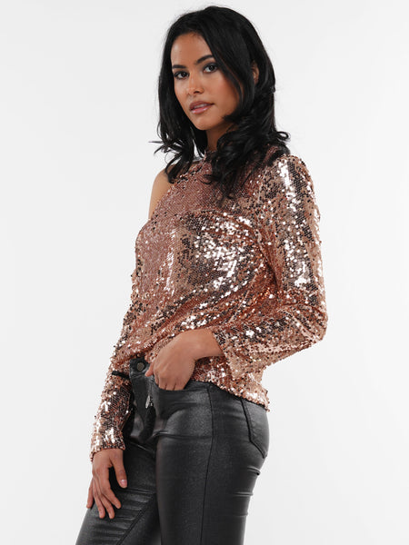 SEQUIN ONE  SIDE  SHOULDER TOP | Why Dress