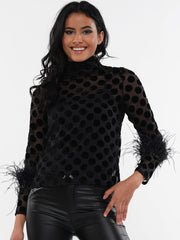 POLKA DOT SLEEVE BLACK FLUFF DETAIL CHIFFON TOP | Why Dress