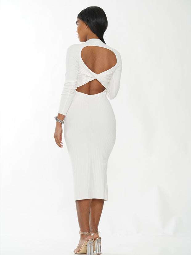 BACKLESS CROSS DETAIL MERMAID DRESS KNIT TOP | Why Dress