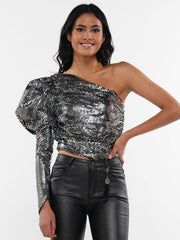 SEQUIN ONE SIDE SHOULDER SLEEVE RUFFLE CROP TOP | Why Dress