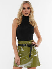 COLD SHOULDER SLEEVELESS TURTLENECK BODYSUIT | Why Dress