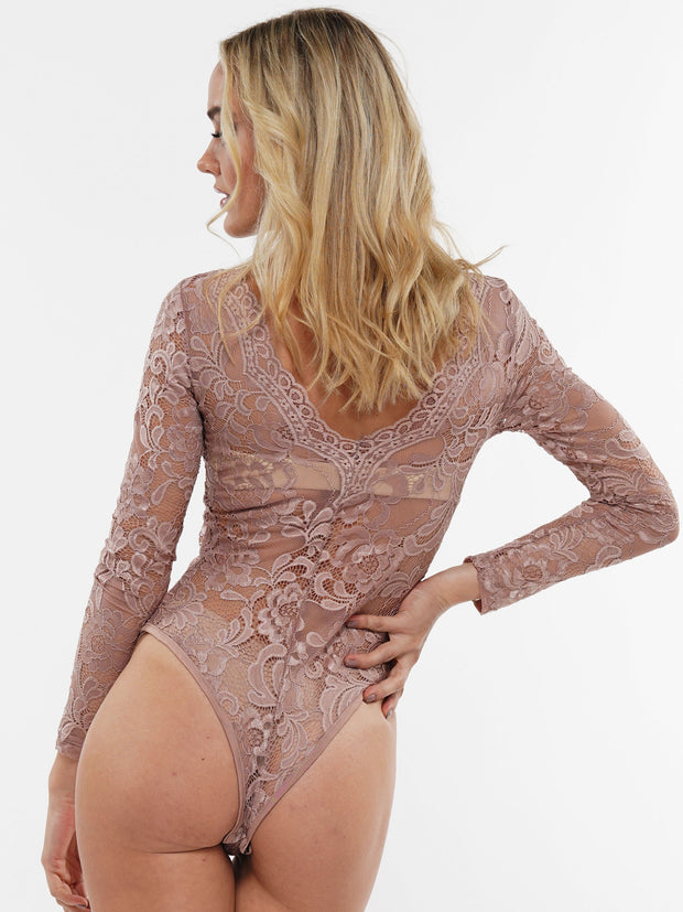 V-NECK LONG SLEEVE CUTOUT DETAIL LACE BODYSUIT | Why Dress