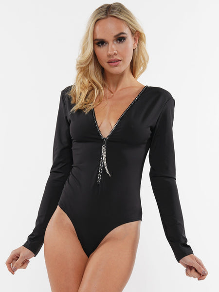 HEATSTONES ZIP FRONT LONG SLEEVE BODYSUIT | Why Dress