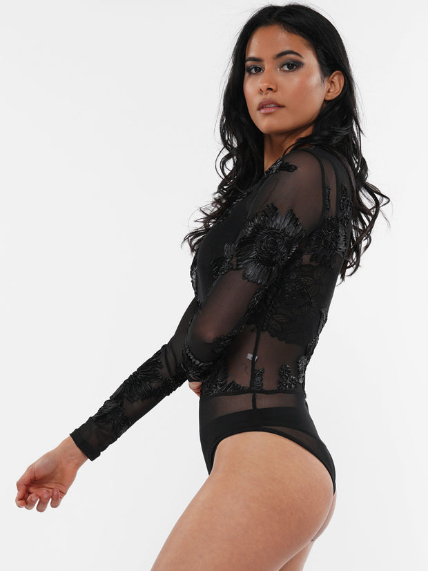 EMBROIDERY LACE CHIFFON SEE-THROUGH BODYSUIT | Why Dress