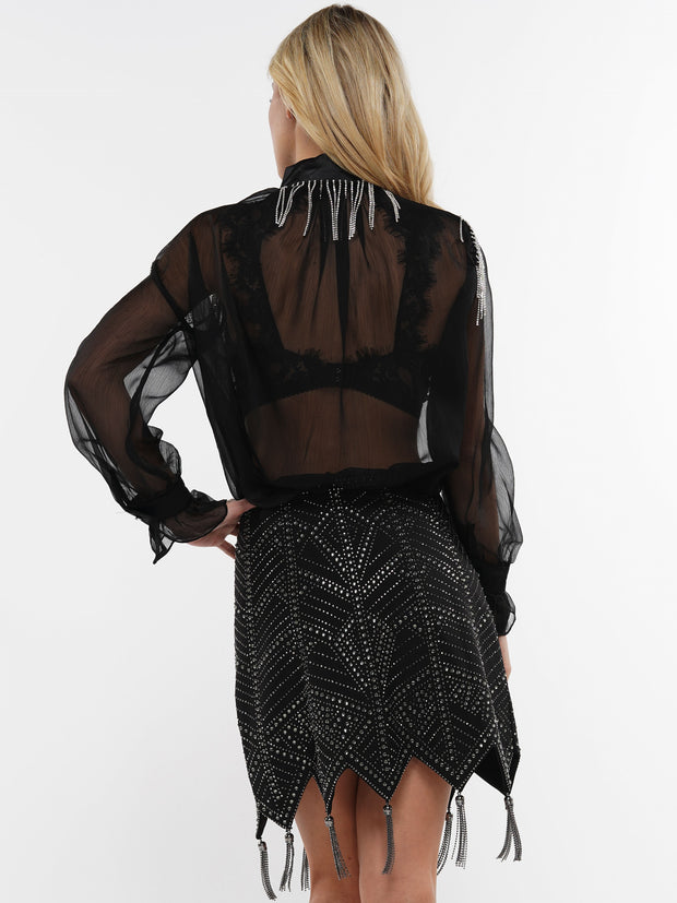 SEE-THRU LONG SLEEVE FRINGE | Why Dress