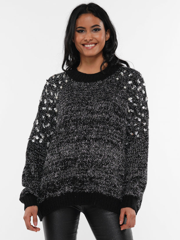 SALT & PEPPER SEQUIN PEARL SWEATER | Why Dress
