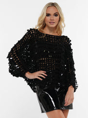 OPEN KNITTED SEQUIN SWEATER | Why Dress