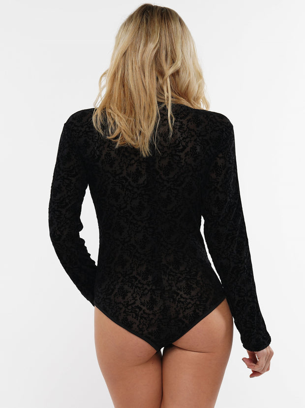 LONG SLEEVE FLORAL LACE STRIPED BODYSUIT | Why Dress