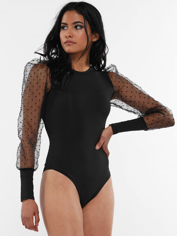 POLKA DOT SEE THROUGH LONG SLEEVE BODYSUIT | Why Dress