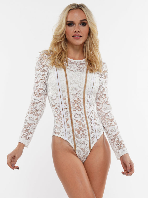 FLORAL LACE LONG SLEEVE BODYSUIT | Why Dress
