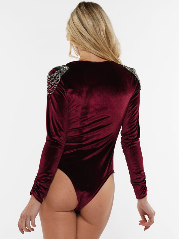 VELVETEEN FRINGE SHOULDER BODYSUIT | Why Dress