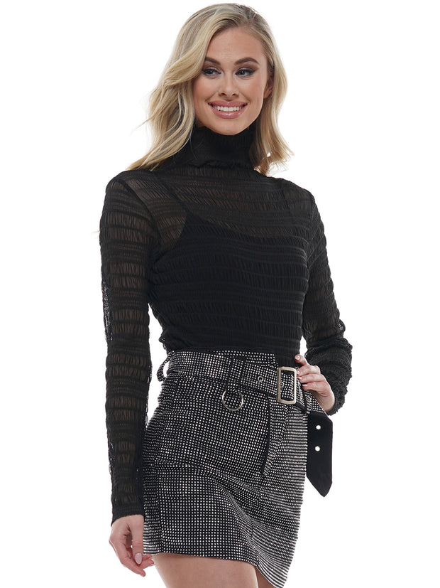 See-Through Rippled Long Sleeve | Why Dress