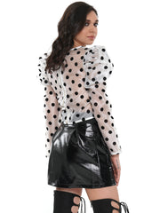 Polka Dot Puffy Shoulder Long Sleeve | Why Dress
