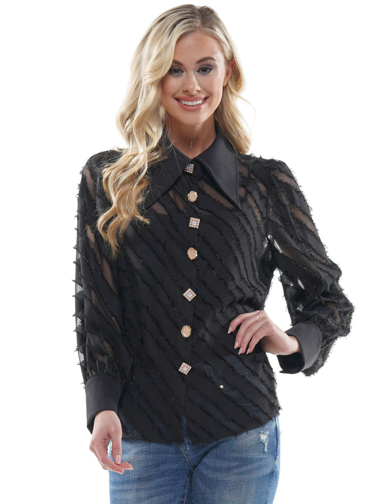 Striped Sheer Frayed Long Sleeve | Why Dress