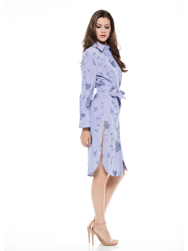 FLORAL EMBROIDERY SHIRT DRESS - Why Dress