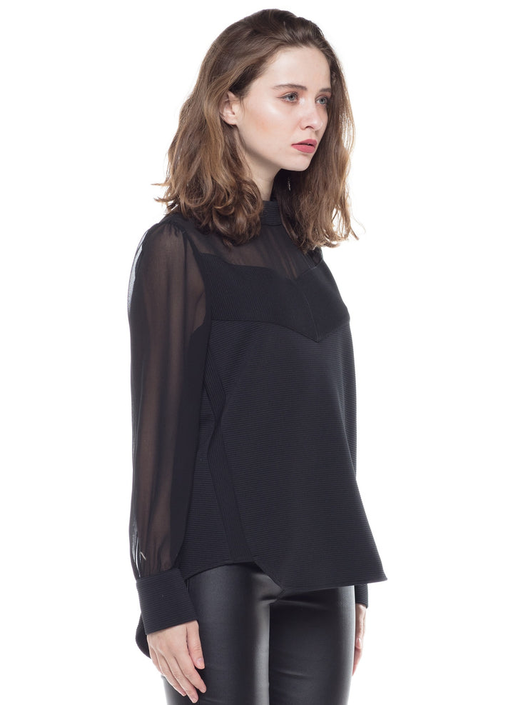 Sheer Long Sleeve Casual Top | Why Dress