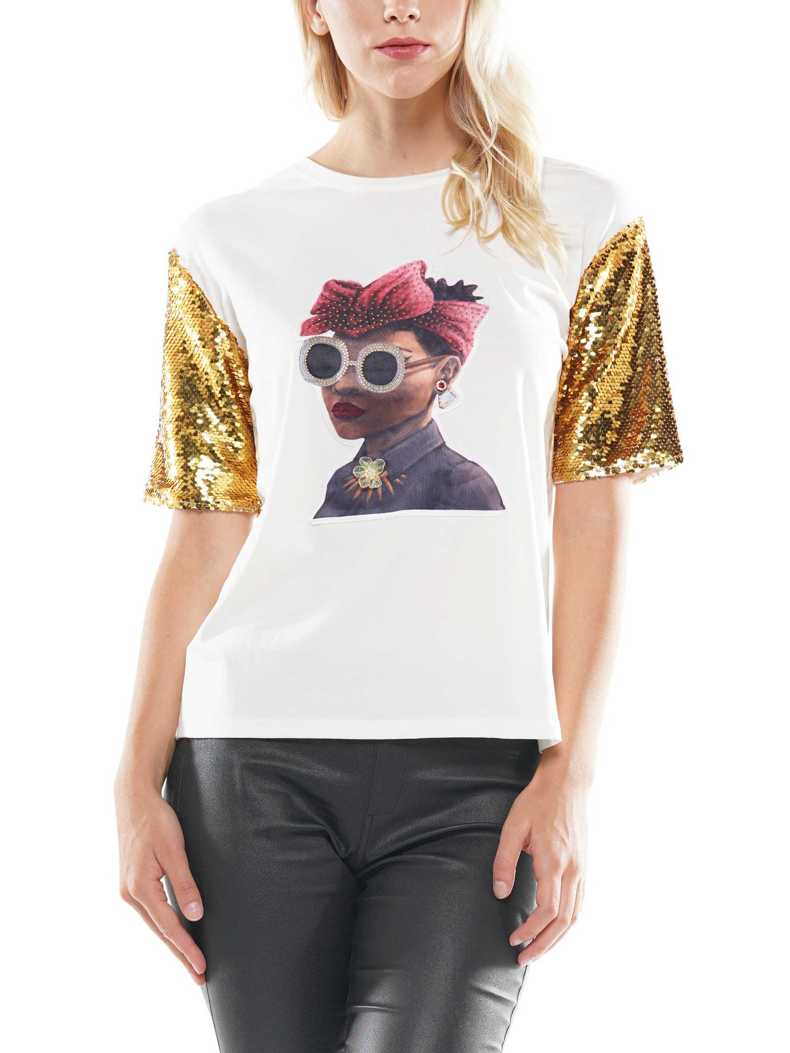 Sunglass girl patch with sequin sleeve t-shirt