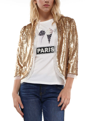 Puff sleeve sequin cardigan
