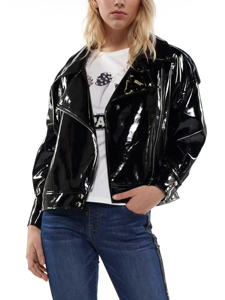 PATENT LEATHER BOYFRIEND FIT BIKER JACKET | Why Dress
