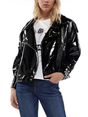 Patent leather boyfriend fit biker jacket