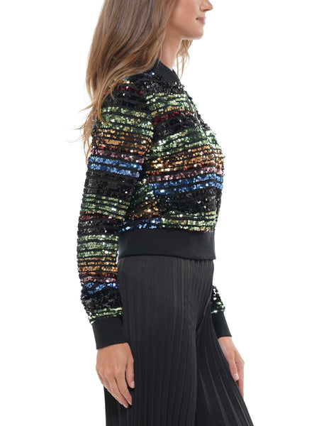 Rainbow sequin bomber jacket