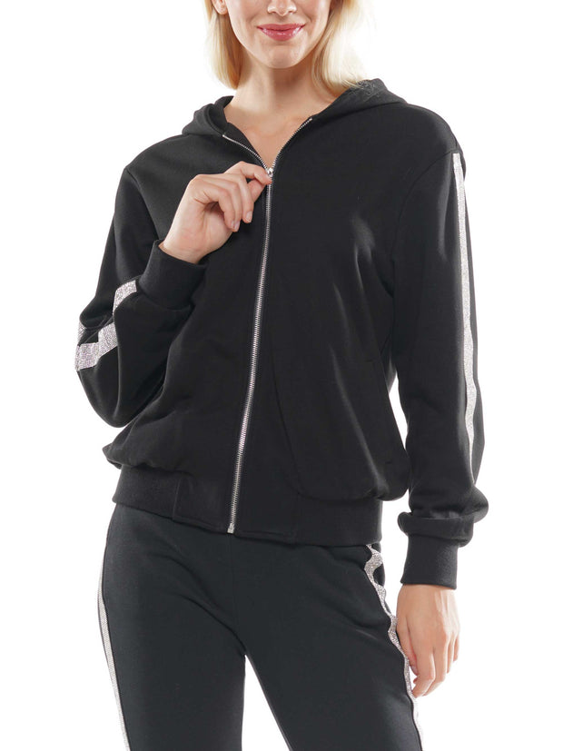 Zip Up Hoodie with Gem At Sides | Why Dress