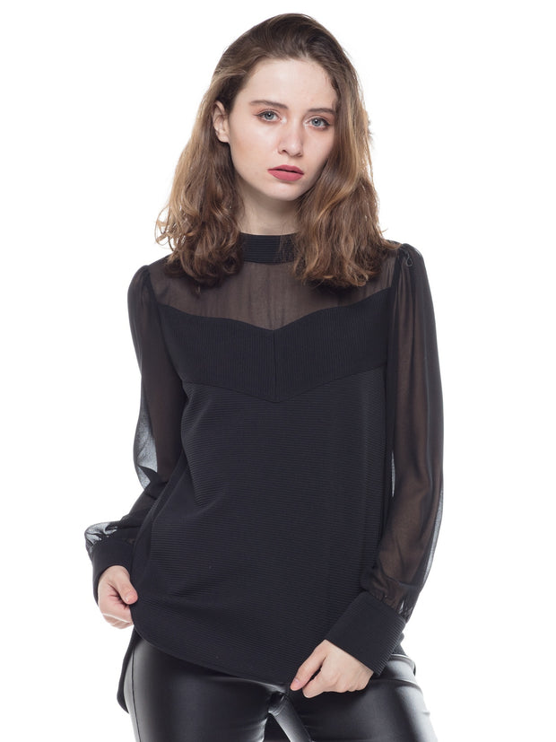 SHEER LONG SLEEVE CASUAL TOP