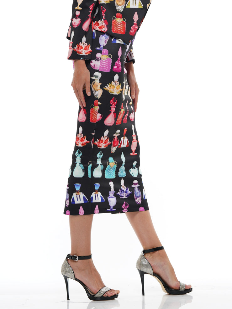 PERFUME BOTTLE PRINT SKIRT | Why Dress
