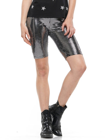 Metallic stretch bike pants