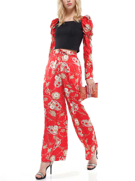 Scarf printed pants