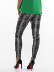 Grey Snake Pattern Skinny Jeans | Why Dress