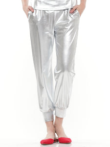 Metallic jogger pants