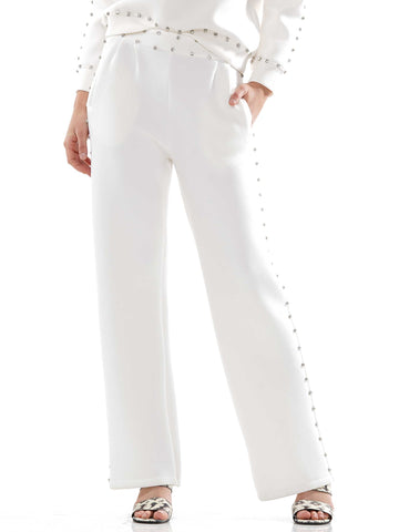 Gem detailed wide-legged pants