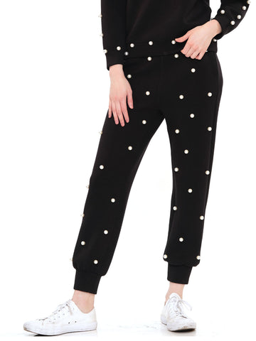 Pearl embellished pants