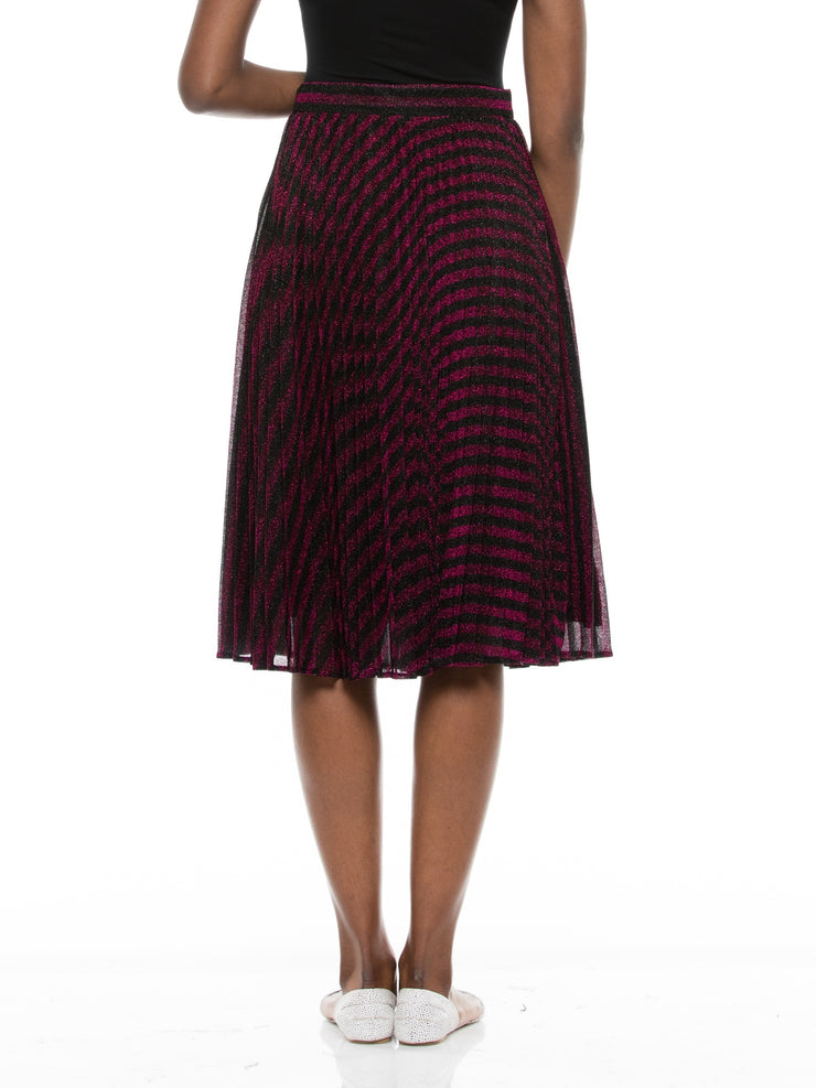 Metallic  Striped Pleated Midi Skirts