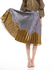 PLEATED ZIG ZAG COLOR BLOCK SKIRT | Why Dress