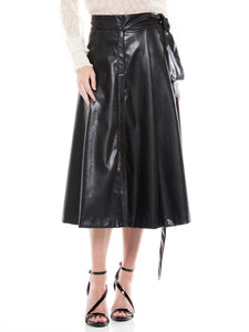 Faux leather belt skirt
