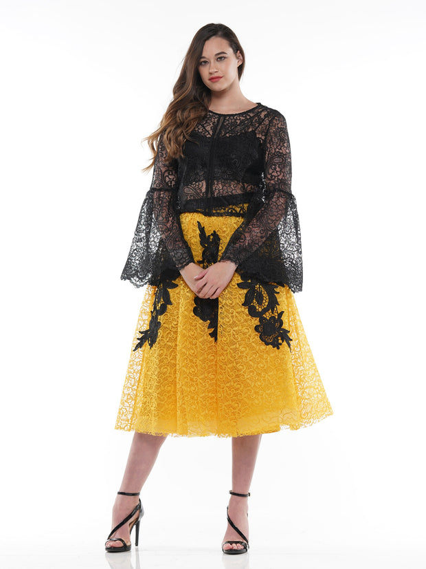 Lace fabric A line design Long skirt