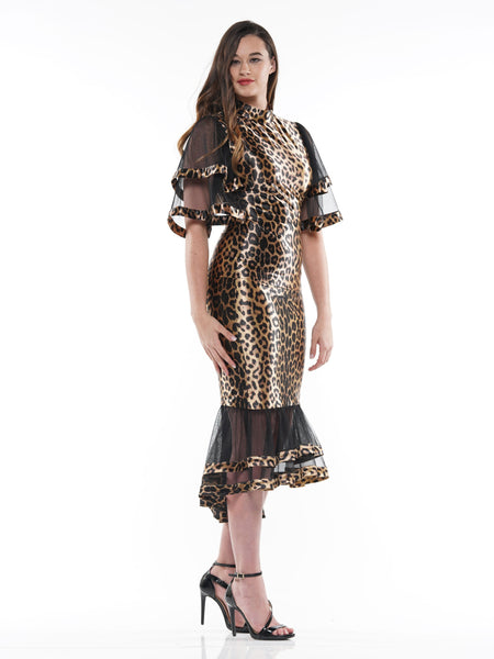 Leopard fabric Ruffle detail Midi length skirt | Why Dress