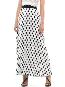 Polka dot pleated maxi skirt