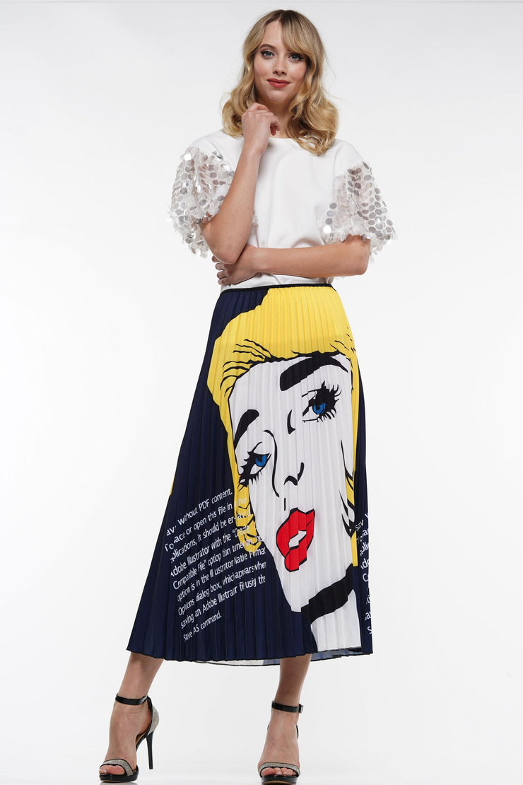 PLEATED GRAPHIC SKIRT | Why Dress